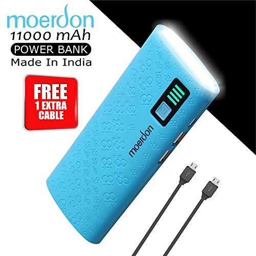 MOERDON 11000mAh PowerBank with Dual USB Output Charger with Micro USB Charging Cable (Free 1 Extra Cables)