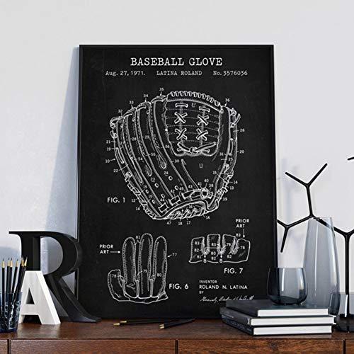 EBONP Dekorative Malerei Geschenk Baseballhandschuhe Druckhandschuh Blueprint Wandkunst Leinwand Malerei Retro Baseballhandschuhe Poster Baseball Fan Geschenke Mann Höhle Dekoration-20x28inch