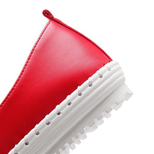 AllhqFashion Femme Rond Fermeture D'Orteil Non Talon Tire Couleur Unie Chaussures à Plat Rouge