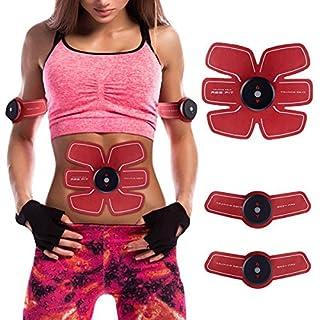 Elektrostimulation Muskeltrainer USB Charge Muskel Training Gewicht Verlust Fitness Geräte Frauen Männer (Rot)