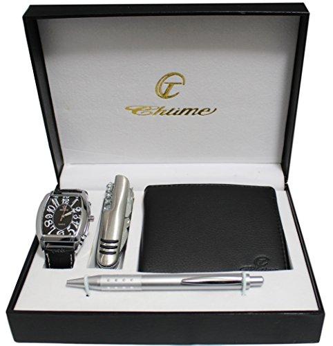 Geschenkset, Herren-Armbanduhr mit Multifunktions-Messer, Brieftasche und Stift
