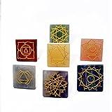 7 Chakra Pyramids Symbol Engraved Set Reiki Healing Gemstone–Vastu–Feng Shui