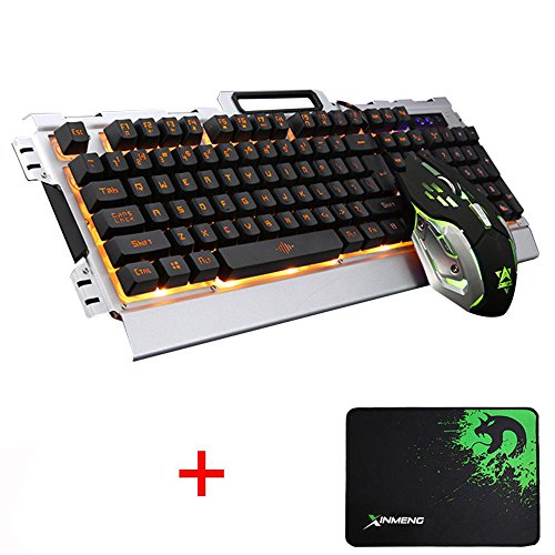 LexonElec® K33 Gaming Tastatur und Maus Combo Orange LED LED hintergrundbeleuchtet Multimedia Ergonomic Usb Metall Panel Gaming Tastatur Wasserdicht + Licht atmen 3200DPI 6 Tasten Optical Gamer Maus Sets + Mousepad (K-33 / Schwarz Silber) (Verstärkt Tastatur)