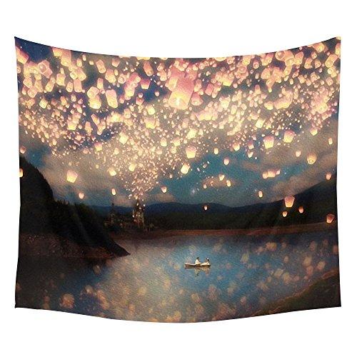 Muster Wand tapestry- Leichtes Polyester Stoff Hippie Tapisserie Wand Decor für Schlafzimmer/Wohnzimmer/Wohnheim Zubehör, Polyester-Mischgewebe, Sky Lantern, 51''x60'' ()