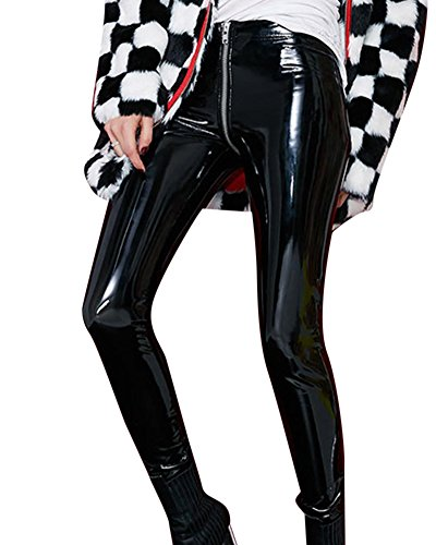 da6ffcacca30 Damen Schick Faux Leder Hosen Reißverschluss Hinten Volltonfarbe PU  Persönlichkeit Hosen Schwarz XL