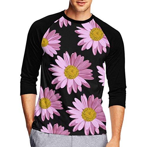 Henrnt Damen Bluse 3/4 Arm T-Shirt Bluse Top Polka Dot Pink Flower Print T-Shirt Casual Crew Neck Tops Tee