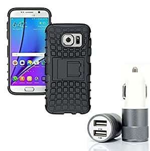 Aart Hard Dual Tough Military Grade Defender Series Bumper back case with Flip Kick Stand for Samsung S7 EDGE + Car Charger With 2 Fast Charging USB Ports by Aart Store.