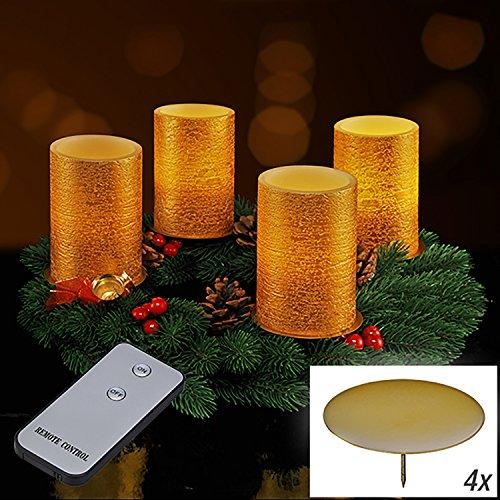 Juego de velas led de cera real sin llama de color oro y mando a distancia, 9 piezas