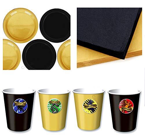 Coco&Bo - Hogwarts Houses - Starter Geschirr Party Pack für 4 - Schwarz & Gold Thema Tischdekoration - Teller, Tassen & Servietten - Wizarding Harry Potter Party inspiriert