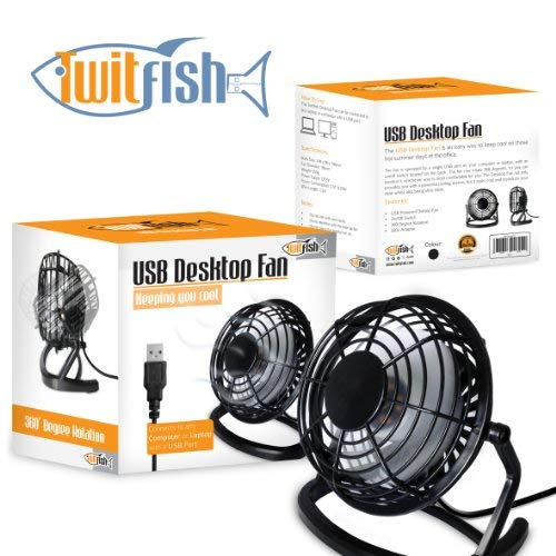 TwitFish USB Rétro Ventilateur / Fan - Noir