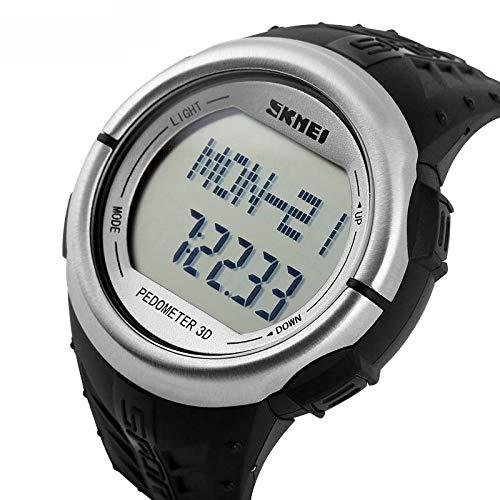 XWEM Smart Watch, Wasserdichte Outdoor-Sport Schrittzähler Test Herzfrequenz Blutdruck Mode Student Herrenuhr,Silver