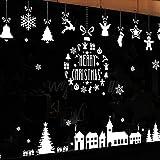 Noël Mural,Joyeux Noël Vitrophanie Neige scène Urbaine Animal Wapiti Mural en Vinyle Autocollant DIY Art Murale Wall Stickers Sticke Décor Décoration