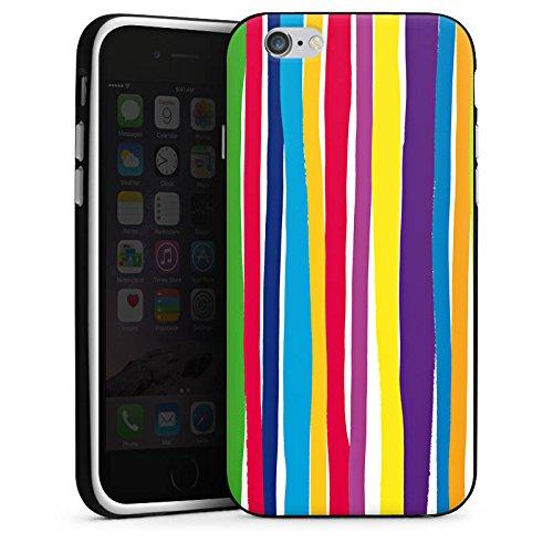Apple iPhone 5s Housse étui coque protection Bandes Printemps Couleurs Housse en silicone noir / blanc