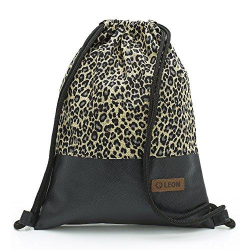 By-Bers LEON Tasche Turnbeutel Rucksack Sportbeutel Gym Bag Gymsack Hipster Fashion (Leopard_Schwarz) -
