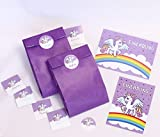 Einhorn 12 Einladungskarten zum Kindergeburtstag lila Einhorn incl. 12 Umschläge und 12 Party-Tüten mit 12 Aufkleber / Pferd / Unicorn / Märchen-Party / schöne und bunte Einladungen für Mädchen (12 Karten + 12 Umschläge + 12 Party-Tüten + 12 Aufkleber)