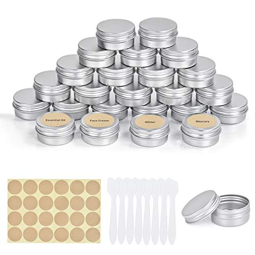 FORMIZON 24 Pezzi Vasetti Alluminio 20 ml Barattoli di Latta in Alluminio con Copri di Vite e Etichette e Mini Spatola per Artigianato Balsamo Labbra Artigianato Cosmetici Candele