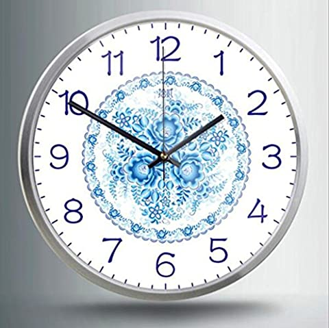 HY-FHLJ Printing Metal Quartz Clock Pastoral Style 14 Inch Chinese Style Blue And White Porcelain Pattern Mute No Ticking Sound Family Kitchen / Living Room Wall Clock (Silver White Black) , C , 14