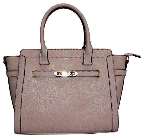 Kukubird Cadenza In Ecopelle Con Chiusura In Metallo Dettaglio Design Top-manico Spalla Tote Handbag Pink