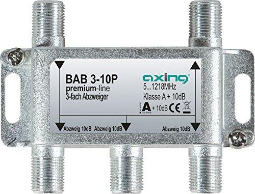 Axing BAB 3-10P 3-fach Abzweiger 10dB Kabelfernsehen CATV Multimedia DVB-T2 Klasse A+, 10dB, 5-1218 MHz metall