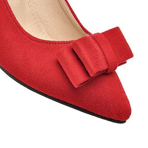AllhqFashion Femme Dépolissement Pointu à Talon Correct Couleur Unie Chaussures Légeres Rouge