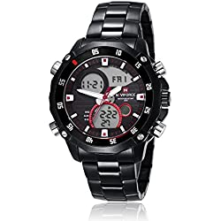 NAVIFORCE Top Quality Sport Military Analogue Digital Quartz Stainless Steel Watch with Dual Time Auto Date (Black/Red Scale)