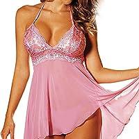 Damen Satin Nachthemd mit Spitze Negligee Sexy Babydoll V-Ausschnitt Nachtwäsche Sleepwear Super Sexy Damen Dessous... preisvergleich bei billige-tabletten.eu