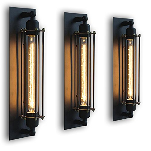 FLTRADE Wandlampen Edison Vintage Retro Metall Cafés Antike Wandleuchter Tube-Käfig Loft Beleuchtung warmweiß mit T300 Leuchtmittel Birne,Schwarz (Edison Lampe Leuchte)
