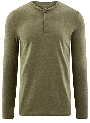 oodji Ultra Herren Tagless Henley-T-Shirt Aus Baumwolle Grün (6600M)