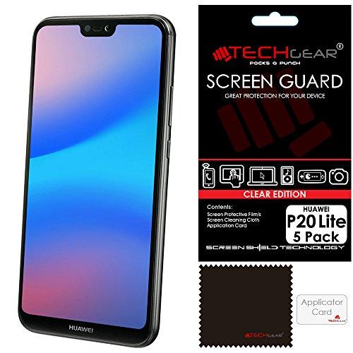 TECHGEAR [5 Stück Displayschutz für Huawei P20 Lite - Ultra Klare Schutzfolie für Huawei P20 Lite - mit Reinigungstuch + Applikationskarte