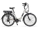 Fitifito CT26 Amsterdam Elektrofahrrad Citybike E-Bike Pedelec, 36V 250W Heckmotor, 7 Gang Shimano Schaltung, Matt Grau Schwarz