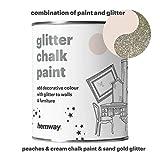 Hemway Peaches N Cream Chalk Paint (con glitter) Sparkle da parete con finitura opaca e mobili vernice 1L/992,2gram shabby chic vintage gessati Crystal (25brillantini colori disponibili), argento