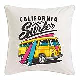 """funda de almohada 40x40cm """"CALIFORNIA SÚPER surfer surfing BEACH TABLAS DE SURF LAS ONDAS DE LONGBOARD Beginner Shop"""" Microfibra en color Blanco"""