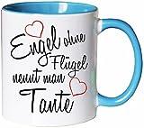 Mister Merchandise Kaffeebecher Tasse Engel ohne Flügel nennt Man Tante Schwanger Baby Pate Beste Freundin Tantchen Schwester Teetasse Becher Weiß-Hellblau