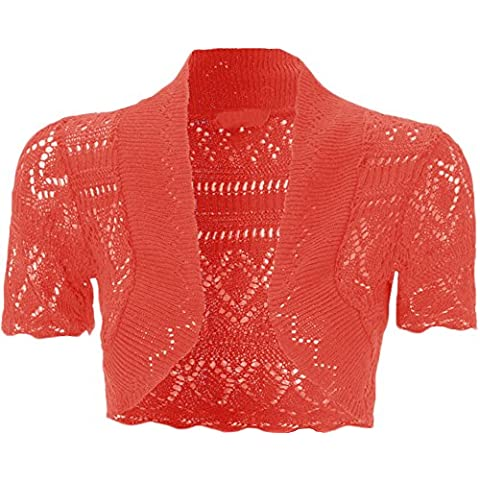 WearAll - Mujeres Shrug del Bolero Hecho Punto Ganchillo Cardigan Top