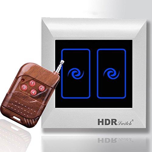 interruptor de control remoto inalámbrico y AC85V ~ 265V 2 cuadrilla de control remoto de la pared del tacto Interruptor de la luz de la pantalla y Smart Home Automation Conmutador