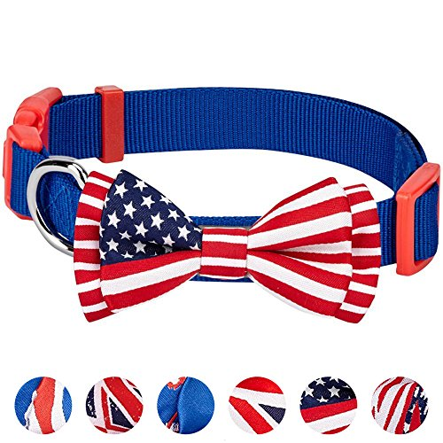 Blueberry Pet Nationalstolz Klassische Handgefertigte Amerikanische Flagge Fliege Hundehalsband in Blau, S, Hals 30cm-40cm