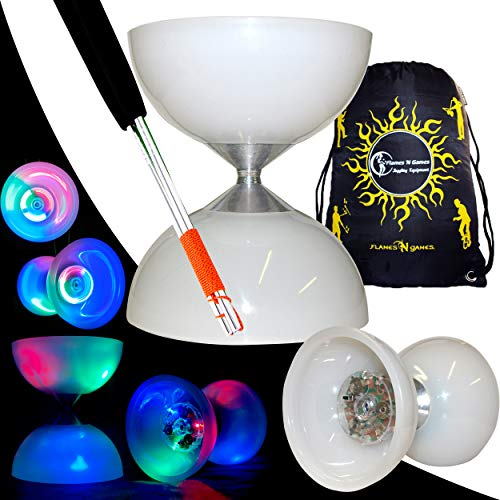 """Juggle Dream """"Lunar Spin"""" GLOW-LED Diabolo für Anfänger mit Diablo Alu Handstäbe und Diaboloschnur +Tragetasche! Jongliergeräte / Diabolo Für Kinder"""