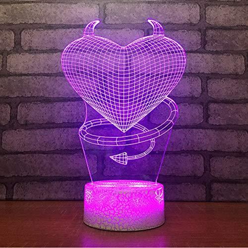Wohnkultur Atmosphäre 3D Schreibtischlampe Herz Böse Person Modellierung 7 Farben Led Boy Nachttischlampe Urlaub Geschenke ()