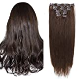 Clips Cheveux Extension Naturel #2 Chatain Fonce 50cm Long 7 Bandes 70g - 100% Remy Humain Hair Double Weft