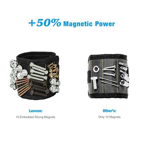 Lunvon Wristband Magnético Con Los Imanes Fuertes Magnético Pulseras Para Los Tornillos De La Explotación Agrícola  Clavos  Pedacitos De Taladro   Muñequera Magnética Herramienta Para DIY  Negro