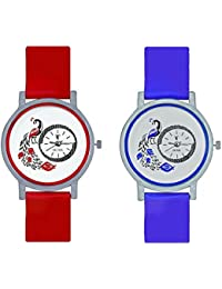 Octus Peacock Red And Blue Colour Round Dial Analog Watches Combo For Girls And Womens