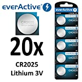 20 x everActive CR2025 Lithium 3Volt! CR 2025 BLISTER NEU Ø 20mm , Höhe 2,5mm