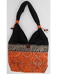 Sac bandoulière, sac besace soie Thai Orange brodé séquins
