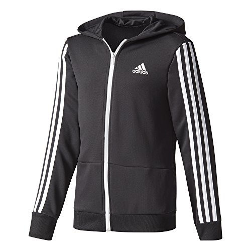 adidas Jungen Gear-Up Full Zip Hoody, Black/White, 140 (Adidas-full Zip Jersey)