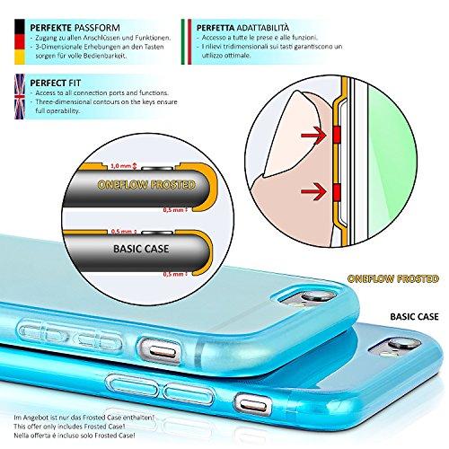 iPhone 5S Hülle Silikon Transparent [OneFlow Frosted Back-Cover] Stoßfeste Schutzhülle Lila Handy-Hülle für iPhone 5/5S/SE Case Dünn Silikonhülle Tasche AQUA-CYAN