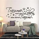 HomeTattoo ® WANDTATTOO Wandaufklebe Träume nicht dein Leben, lebe deinen Traum Spruch 359 XL ( L x B ) ca. 58 x 135 cm (braun 800)