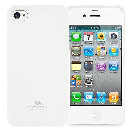 Goospery Marlang Marlang iPhone 4/4S Hülle, Gratis Displayschutzfolie [Slim Fit] TPU Fall [Flexibel] Pearl Jelly [Schutz] Bumper Cover für Apple iPhone 4S, Weiß 4s Pearl Case Iphone