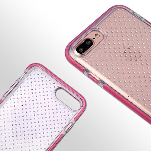 iPhone 7 Plus Case, SHANSHUI Ultra Dünn Transparent Soft Flex Handyhülle Premium weiches TPU Silikon Rahmen Durchsichtige Schutzhülle Crystal Clear Bumper Style Hülle Cover (7P, Pink) Pink