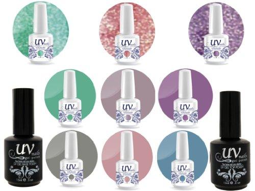 UV Nail Gel Proffesionel Collection Enchanted Castle 3 Paillettes Vibrante+6 Gels+Base&Top+Polissoir a Ongles Aviva