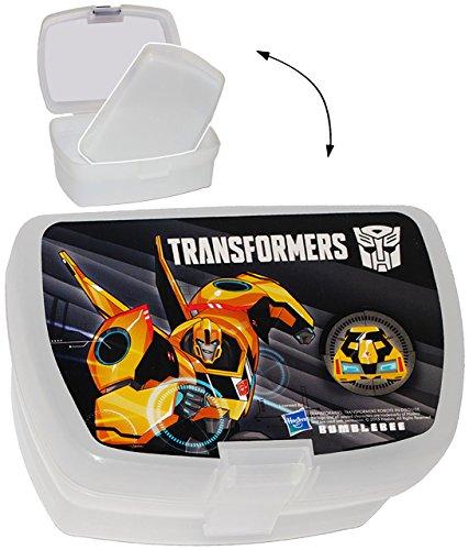 """Lunchbox / Brotdose - """" Transformers """" - mit extra Einsatz / herausnehmbaren Fach - Brotbüchse Küche Essen - für Mädchen & Jungen - Kinder Vesperdose - Brotzeitdose / Trennwand - Fächern - Roboter - Auto Fahrzeuge / Optimus Prime Transformer - Aktion - Dose Box leicht transparent"""